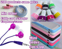 Wholesale Order Iphone Adapter - Mix order Cable cord + wall Charger + Car charger + earphone for Iphone 4 4s 5 5S 5C Samsung galaxy note 3 support mix order 50pcs up.