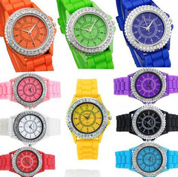 Wholesale Geneva Watch Silver Blue - 2014 Geneva Silicone watch Casual Watch Geneva Unisex Fashion watch women Analog wristwatches Sports Watches