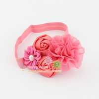 Wholesale Satin Tulle Flower Headband - Tulle flower headband satin ribbon rose flower with Pearl hairband Kids accessories Baby girl headwear 24pcs lot