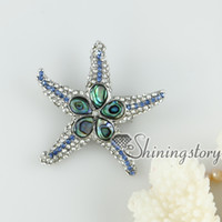 Wholesale Cheap Starfish Jewelry - pink oyster shell rainbow abalone shell rhinestone starfish star fish teardrop flower brooch mother of pearl jewelry Cheap china jewelry