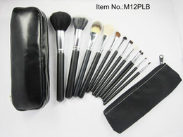low price makeup Coupons - lowest price  hot new 12Pcs set Professional black Makeup Brushes with leather pouch