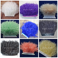Wholesale White Ostrich Fringe Feathers - Wholesale !10 yards lot Ostrich Feather Trimming Fringe White,Black,ivory, Royal blue,red on Satin Header 5-6inch in width for decoration