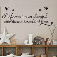 Wholesale people time - Life Was Forever Changed With These Moments In Time Inspirational Quotes Wall Decals, Art Room Decor Wall Stickers