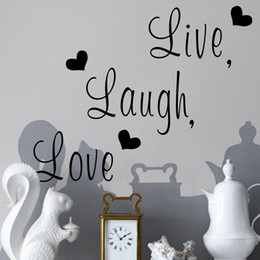Wholesale Live Laugh Love Wall Art - Live Laugh Love Quotes Vinyl Decal Removable Wall Home Decor Art Stickers