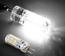 Wholesale Dc Light Bulb Leads - SMD 3014 Bulbs Chandelier Crystal lights DC 12V G4 2W 24 Leds warm white cool white led corn light with 2 years warranty