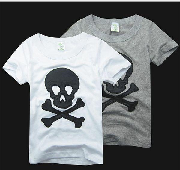 Pur Coton D'été Enfants de Bande Dessinée Tshirt Broder La Barbe Et Le Crâne À Manches Courtes Garçon Fille T-shirt 2-6 Ans Vêtements Pour Enfants GX52