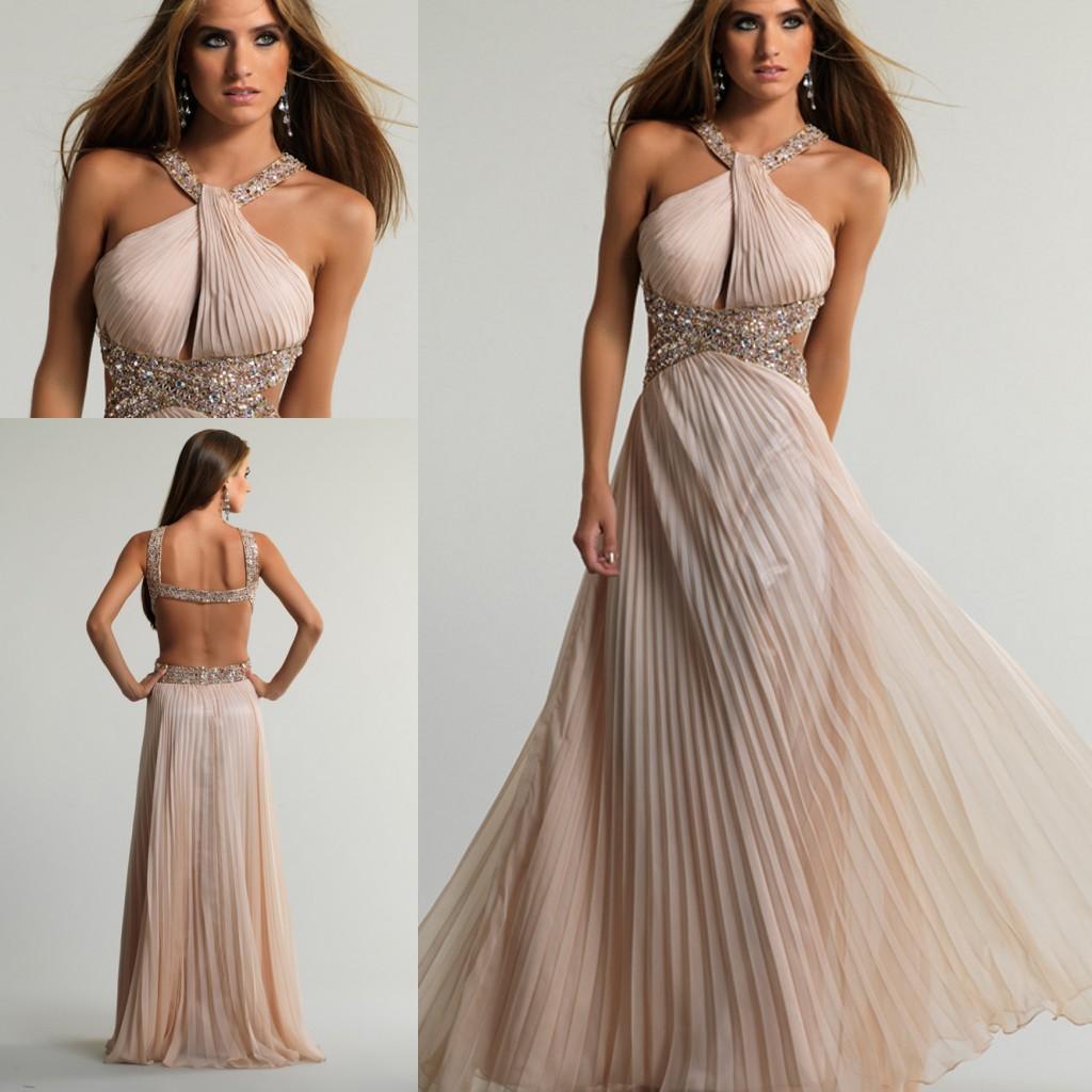 Lk Champagne Design Your Own Blush Prom Dresses Cheap Halter ...