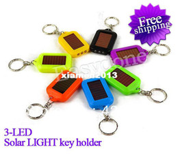 Wholesale Wholesale Mini Solar Flashlight - Portable Mini 3 LED Solar Power Rechargeable Flashlight Torch Light Keychain Free shipping!!! 8 colors