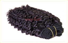 """Wholesale Virgin Hair Weft 4a - 4A 100% virgin Indian hair extension weft kinky curly #1B 8""""-32"""" mixed ordered 3pcs lot Queen hair Free shipping DHL Remy Hair weave"""