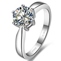 Wholesale White Gold Round Ring Mountings - 1 CT Round cut sterling silver synthetic diamond ring 18k white gold diamond setting semi ring mount women wedding ring engagement