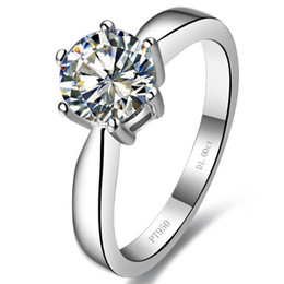 Wholesale Round Ring Mount Setting - 1 CT Round cut sterling silver synthetic diamond ring 18k white gold diamond setting semi ring mount women wedding ring engagement