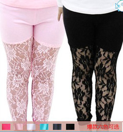 Wholesale Girls Black Lace Tights - Candy Color Spring Lace Floral Mesh Cotton Children Girls Leggings Kids Korean Style Hollow Out Flower Tights Pants B3192