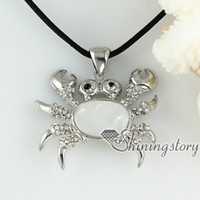 Wholesale Wholesale Crab Shells - white pink oyster sea shell pendants rhinestone crab openwork necklaces mop jewellery Ladies fashion necklaces Hand made jewelry cheap neckl
