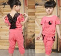 Wholesale Girls Terry Shorts - Retail NEW 2016 fashion children girl suit 100% cotton cartoon T shirt +pants kid girl 2 pcs sets free ship