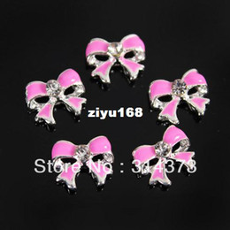 Wholesale Nail Art Cute Designs - 100PCS LOT Cute Bow Tie Alloy 7X8MM 3D Alloy Metal Rhinestone Nail Art DIY Decoration Salon Tips Phone Craft Design Accessories