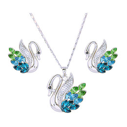 Wholesale Silver Plated Made China - BLUE crystal swan pendant Jewelry set Free Shipping Neoglory MADE WITH SWAROVSKI ELEMENTS Wedding Jewelry Set NJ-699 Super Discount