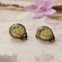 Wholesale Cameo Backing - Fashion Flower Clip Earrings Without Piercing Vintage Cameo Glass Bronzed Earrings rj01