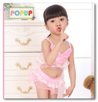 Wholesale Baby Girl Stocking Hats - Fashion children's swimsuit lace Frilly skirt swimwear 3 pcs sets for baby girl have hats child spa beach swimsuit in stock pink blue 7082