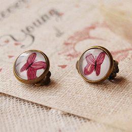 Wholesale Butterfly Backing Earrings - Bohemian Purple Butterfly Clip Earrings Without Piercing Vintage Bronzed Earrings for Girls rj07