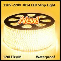 led şerit güç kablosu toptan satış-50 M 100 M 3014 120 LEDs SMD 220 V Su Geçirmez IP67 Sıcak Soğuk Beyaz LED Şerit Işıklar ile bir AB Güç Kablosu Fiş + Montaj Klipler