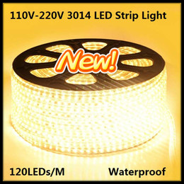 Wholesale Ac Power Cord Plug - 50M 100M 3014 120 LEDs SMD 220V Waterproof IP67 Warm Cool White LED Strip Lights with a EU Power Cord Plug + Mounting Clips