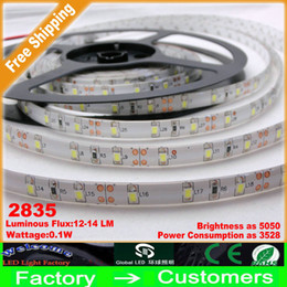 Wholesale Best Led Strip Lights - New Arrival 2835 SMD LED Strip Light Cool White Warm White Colors 5M Flexible 16ft 60LED m 5m lot WATERPROOF Super bright 12V Best Price