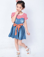 Wholesale denim girls striped dress - Wholesale - Summer Girls Dress girl striped dress girl denim dress with red bowknot free shipping