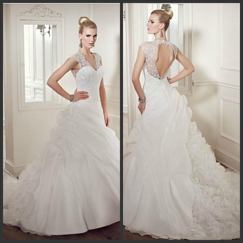 2014 Ivory Vintage Ball Gown Wedding Dresses Organza V Neck Cap Sleeves Cut Out Back Lace Bodice Ruffles Puffy Bottom Elianna Moore Em1243 Non White