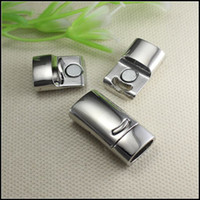 Wholesale Strong Magnetic Clasp Silver Plated - 20PCS Antique Silver Plated Inner diameter 10mmx5mm Strong Magnetic Clasps End Caps for making Leather Bracelet jewelry findings