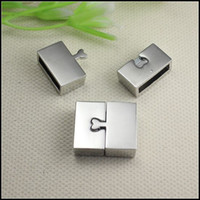 Wholesale End Cap For Bracelets - 25PCS Antique Silver Plated Strong Rectangle   Square Magnetic Clasps End Caps for making Leather Bracelet jewelry findings
