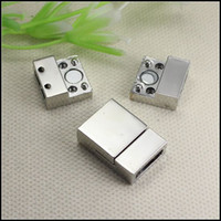 Wholesale Strong Magnetic Clasp Silver Plated - 25PCS Antique Silver Plated Strong Rectangle   Square Magnetic Clasps for for 10mmx2.5mm Leather Bracelet jewelry findings