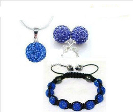 Wholesale Necklace Earrings Silver 925 Shamballa - 2014 hot sale Shamballa Jewelry Set 925 Silver Chain+10mm CZ Crystal Ball Pendant Necklace+Stud Earrings + bracelet 50set lot