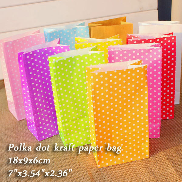 Polka dot kraft paper bags Gift Bags, Party, Lolly,Favour, Wedding, Packaging