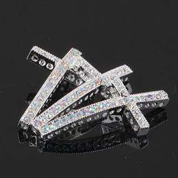 Wholesale beads connectors - 50pcs,Bulk price, High quality Silver plated with White AB Cyrstal Rhinestones sideways crosses Bracelet Connector Beads--25mm x 48mm