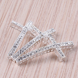 Wholesale Sideways Cross Bracelet Beads - 50pcs,Bulk price, High quality Silver plated with Clear Cyrstal Rhinestones sideways crosses Bracelet Connector Beads--25mm x 48mm