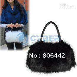 Wholesale Handbags Big Discount - Wholesale - - Big Discount! Fashion Plush Fur Bag Cute Bags Women Handbags Black,White Leather Handbag Free Shippi