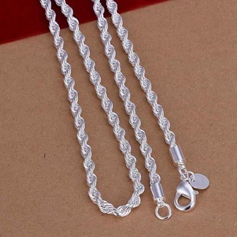 Moda erkek Takı En Iyi hediye 925 ayar gümüş 2mm Büküm HALAT ZINCIR charms kolye 16 inç / 18 inç / 20 inç / 22 inç / 24 inç Sıcak 10 adet / grup