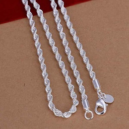 Wholesale Sterling Silver Chain 24inch - Fashion Men's Jewelry Best gift 925 sterling silver 2mm Twist ROPE CHAIN charms necklace 16inch 18inch 20inch 22inch 24inch Hot 10pcs Lot