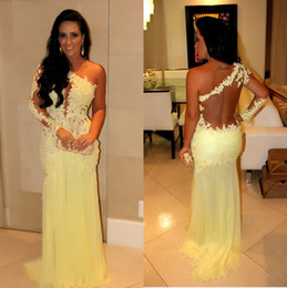 Wholesale One Strap Purple Prom Dress - 2016 New Arrival Long Sleeve Beads Sheer Back Trumpet Pleats Flower Yellow lace And Chiffon Connected Prom Dresses Evening Gowns