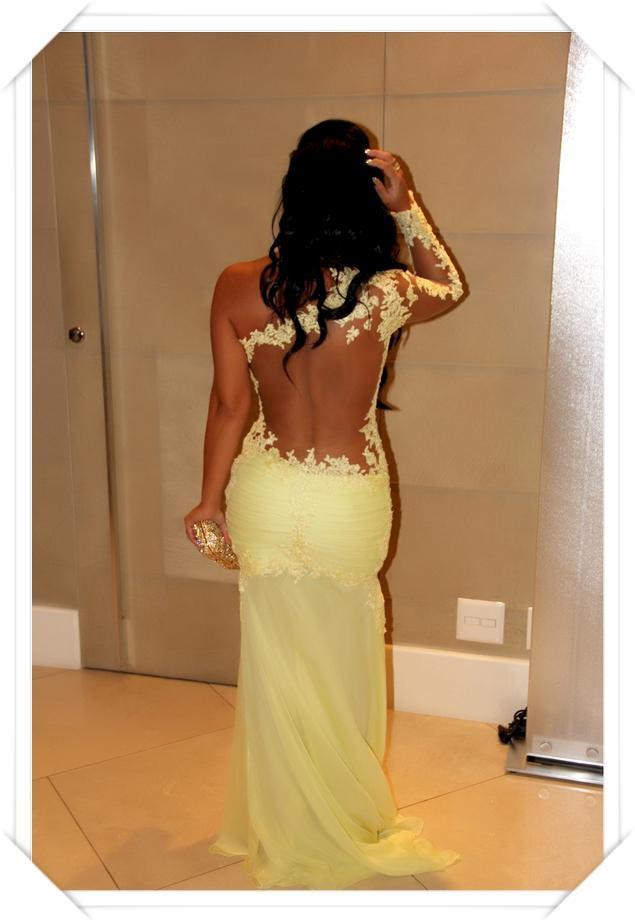 2019 Recién Llegado de manga larga Beads Sheer Back trompeta pliegues flor de encaje amarillo y gasa vestidos de fiesta vestidos de fiesta vestidos de fiesta