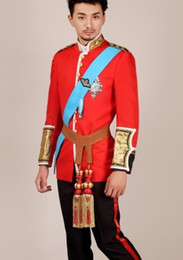 Wholesale Red Belle - prince william red royal mens period costume Medieval stage performance  Prince charming fairy tale William  civil war Colonial Belle stage
