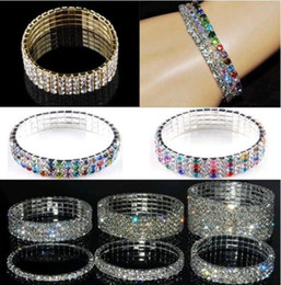 Wholesale Stretch Bangles Crystal - Brand New 3-8rows Clear Multicolor Crystal Rhinestone Lady Wedding Stretch Bangle Bracelet(Choose The One U Like)Free Shipping