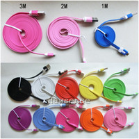 Wholesale Universal Ribbon - 1M 2M 3M Ribbon Micro USB Charging Cable for GALAXY S4 S3 Note 2 Sony LG HTC , Flat Data Sync Charger Line Multi Color DHL 500pcs