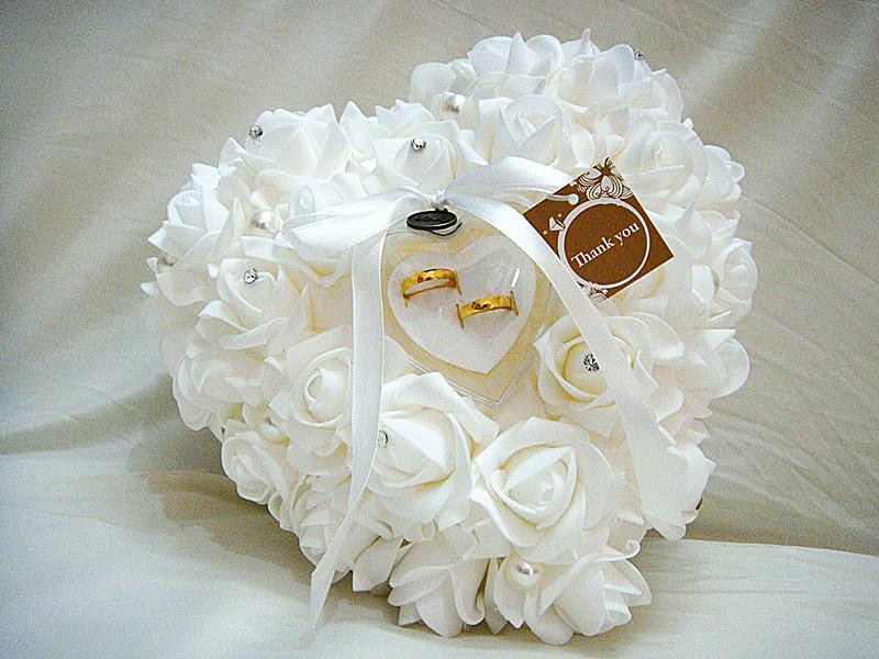 2018 2014 New Wedding Favors Ring Pillow Heart Shaped With