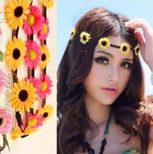 Fascia all'ingrosso della Boemia per le donne tre fiori intrecciati fascia elastica di capelli del fiore di fascia per capelli di fascia del sole di colori assortiti ornamenti dei capelli di colori
