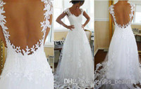 Wholesale Wedding Gowns Low Prices - Custom Latest Charming Sexy V Neck Backless Wedding Dresses 2014 Lace Bridal Wedding Gowns Low Price