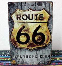 Wholesale Routed Signs - Wholesale 20*30cm US Route 66 FEEL THE FREEDOM Vintage Metal Poster For Bar Pub Wall Decor Tin Sign Home Plaques Signs Painting