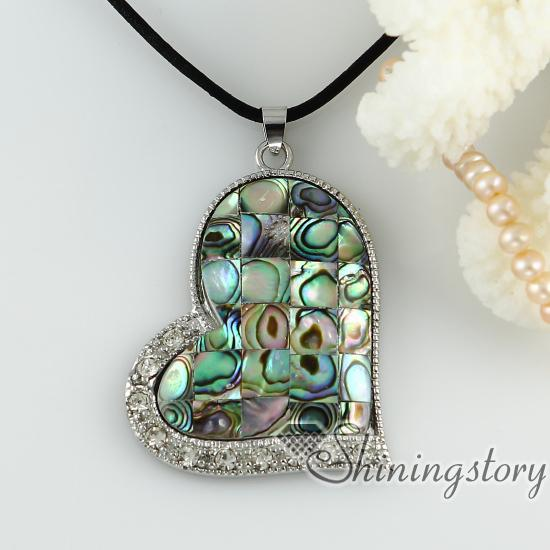 rainbow abalone sea Shell necklaces rhinestone heart patchwork pendants mop jewellery Fashion pendant necklace High fashion jewelry