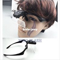 Wholesale Eyeglass Led - free shipping Clip On 1x 1.5x 2x 2.5x 3.5x Eyeglasses light Magnifier 2 LED Magnifying glass Reading Black