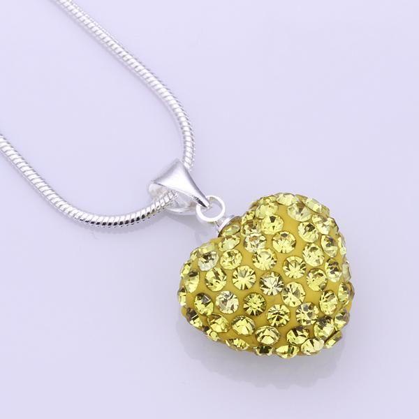 أفضل هدية 925 الفضة والمجوهرات القلب قلادة Shamballa الأصفر حجر الراين ديسكو كريستال الخرزة قلادة 18inch الأزياء الساخن بيع